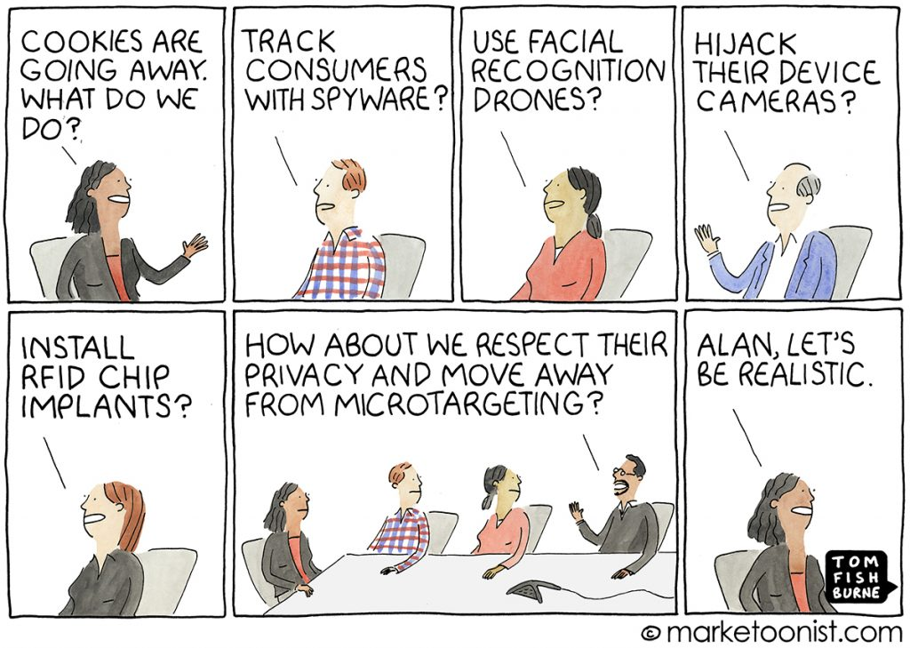 Satirical cartoon highlighting how accustomed the marketing industry is to intrusive data practices.  Made by Marketoonist - https://marketoonist.com/2021/04/advertising-without-cookies.html